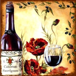 Diamanttavla Poppy And Wine 50x50