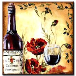 Diamanttavla Poppy And Wine 50x50