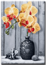 Diamanttavla (R) Yellow Orchid And Shell 40x50