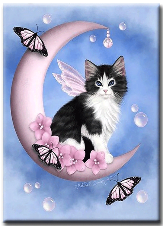 Diamanttavla Kitten On Moon 40x50