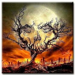 Diamanttavla Skull Tree 50x50