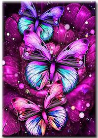 Diamanttavla Purple Butterflies 40x50