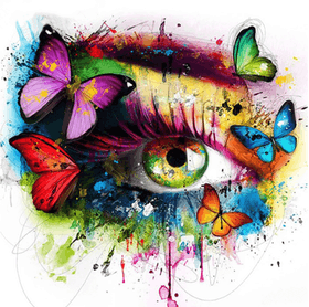 Diamanttavla Color Butterfly Eye 50x50