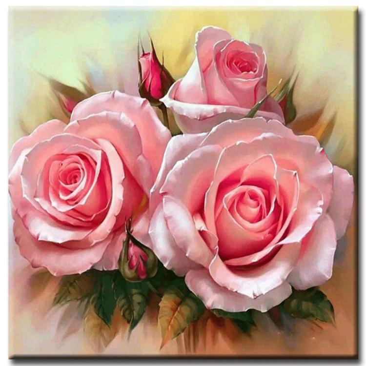 Diamanttavla Flower Rose 40x40