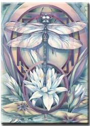 Diamanttavla Dragonfly Lotus 40x50