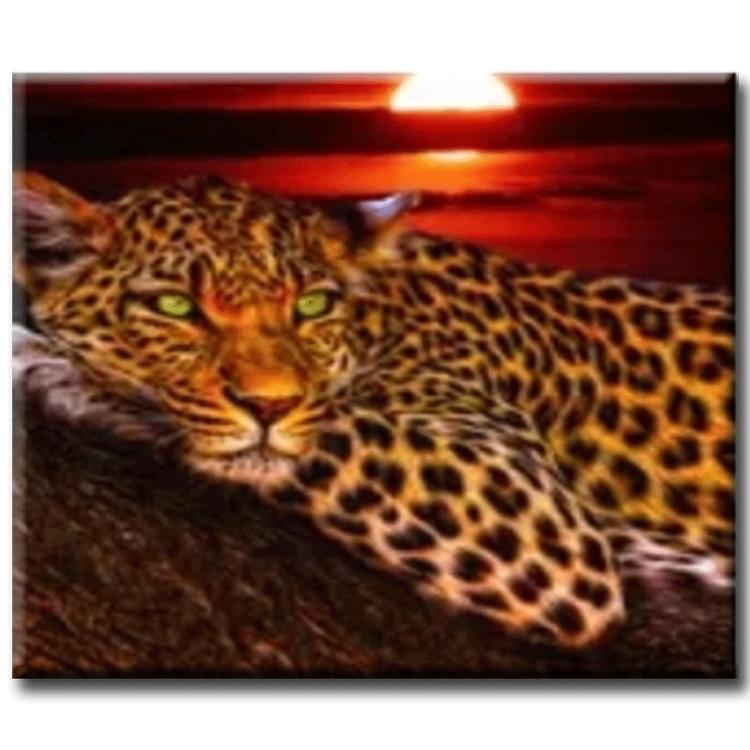 Diamanttavla Leopard Green Eye 40x50