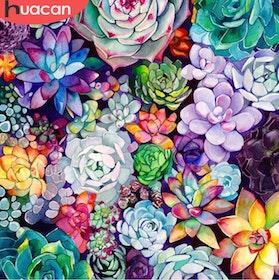 Diamanttavla Succulents 50x50
