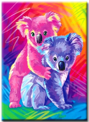 Diamanttavla Colorful Pandas 30x40