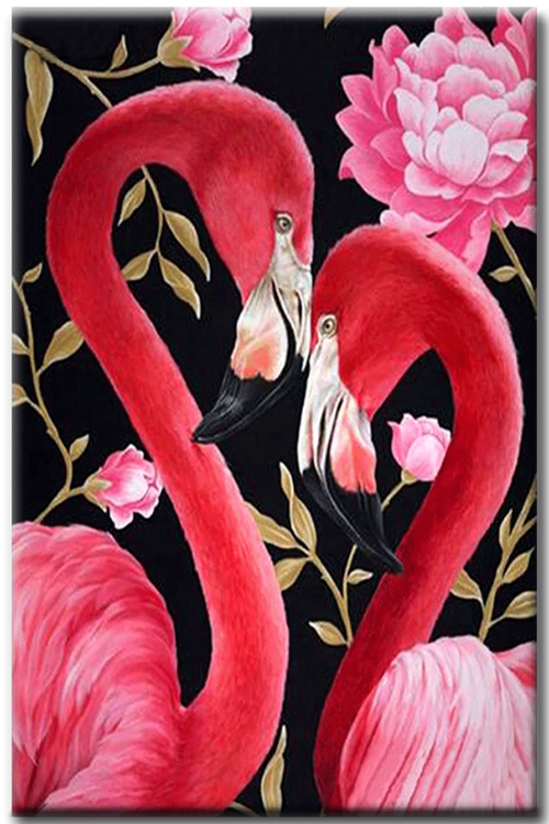 Diamanttavla Flamingopar 30x40
