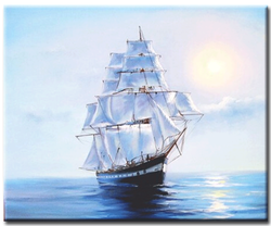 Diamanttavla Ship On The Sea 40x50
