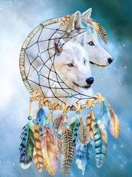 Diamanttavla (R) Wolf Color Dreamcatcher 40x50