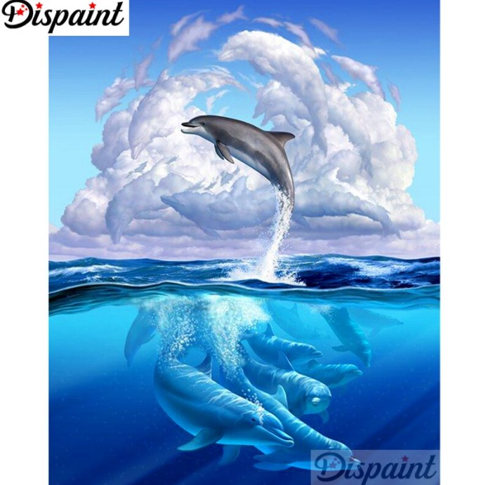 Diamanttavla Sea Dolphins 40x50