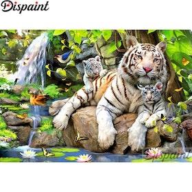 Diamanttavla White Tigers Lotus 50x70