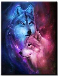 Diamanttavla (R) Wolf Sky 50x70