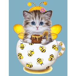 Diamanttavla Bee Kitten 30x40