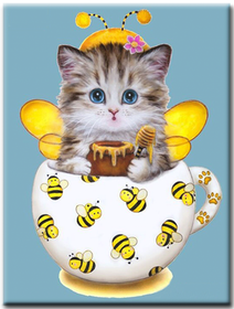 Diamanttavla Bee Kitten 30x40