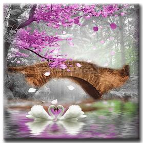 Diamanttavla Swan Love Bridge 50x50