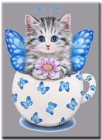 Diamanttavla Butterfly Cat In Cup 30x40