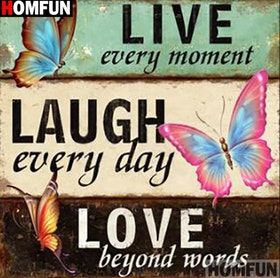 Diamanttavla  Laugh Every Day 50x50