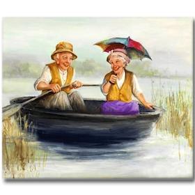 Diamanttavla Old Couple In Boat 40x50
