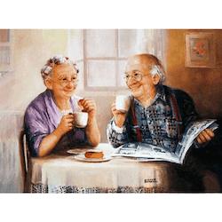 Diamanttavla Old Couple Coffee Time 40x50