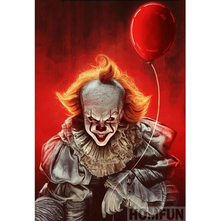 Diamanttavla Pennywise Red Balloon 40x50
