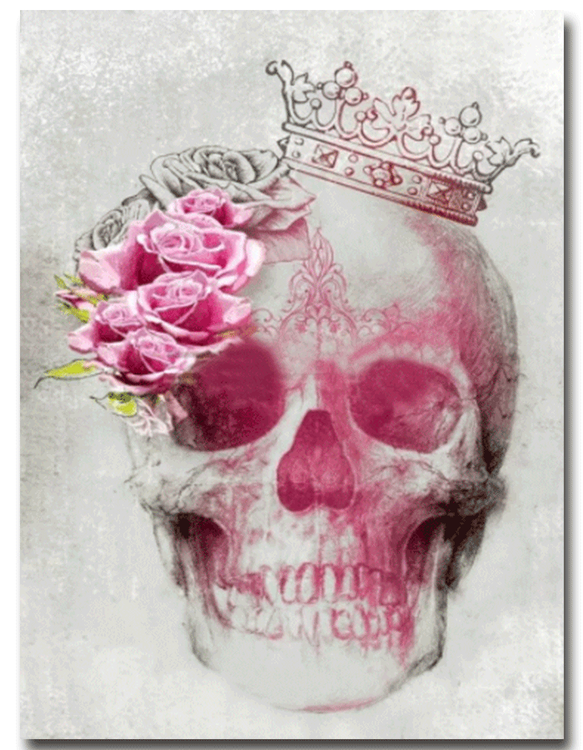 Diamanttavla (R) Pink Rose Skull 40x50
