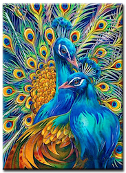 Diamanttavla (R) Peacock Couple 40x50