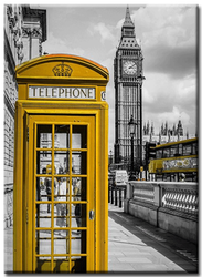 Diamanttavla London Yellow Phone 40x50