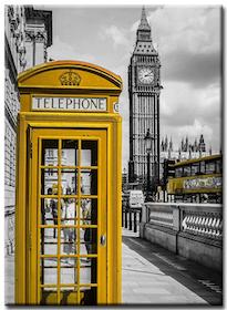 Diamanttavla London Yellow Phone 40x50