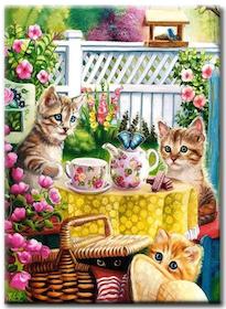 Diamanttavla Cats Teaparty 40x50