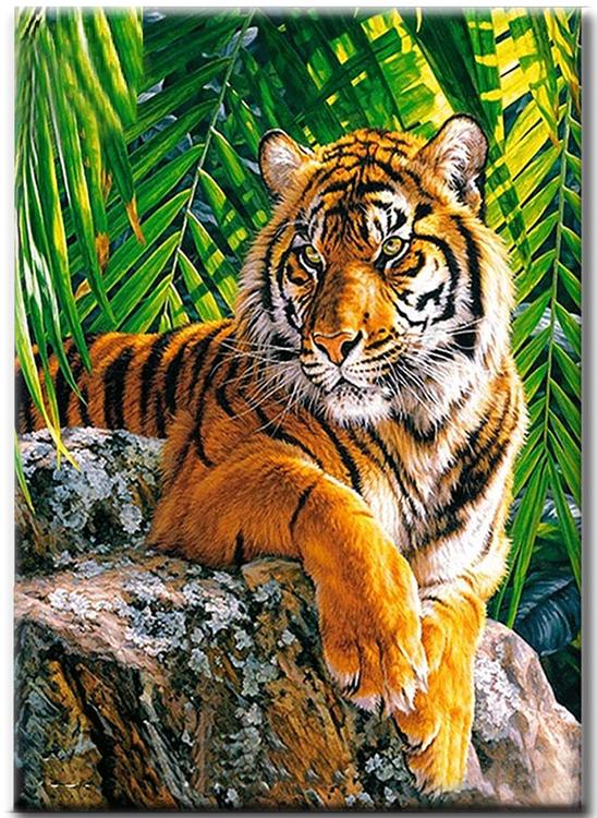 Diamanttavla Tiger In The Djungel 40x50