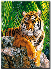 Diamanttavla Tiger In The Djungel 40x50