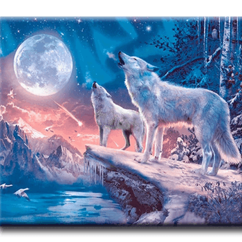 Diamanttavla Howling Moon Wolves 50x70