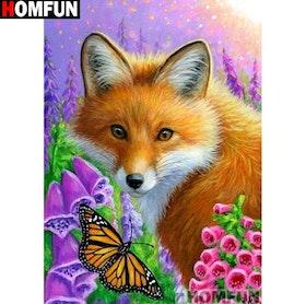 Diamanttavla Fox And Butterfly 30x40