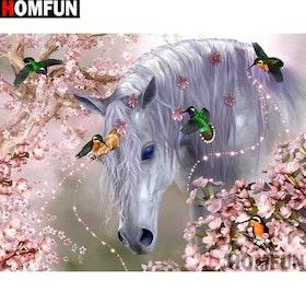 Diamanttavla Horse And Birds 40x50