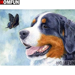 Diamanttavla Dog And Butterfly 40x50