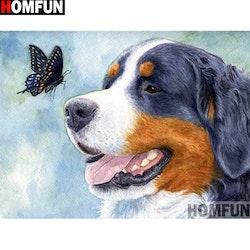 Diamanttavla Dog And Butterfly 40x50