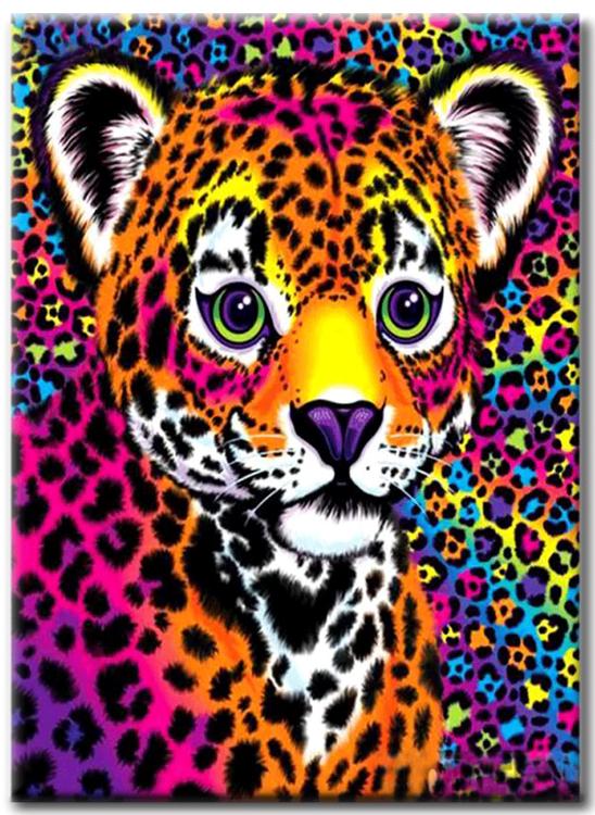 Diamanttavla Colorful Leopard Baby 30x40