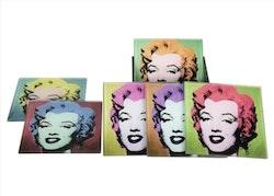 Glasunderlägg Marilyn Monroe 6-pack 10x10