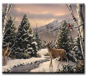 Diamanttavla Winter Mountain Deer 40x50