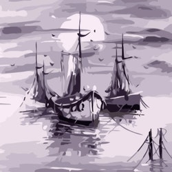 Paint By Numbers Moon Ships 40x50