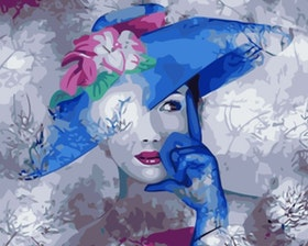 Paint By Numbers Woman Blue Hat 40x50