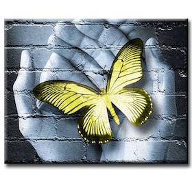 Diamanttavla (R) Gul Fjäril I händer 40x50