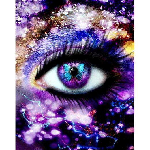 Diamanttavla Neon Light Eye 40x50