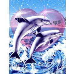Diamanttavla Heart Dolphin 40x50