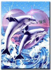 Diamanttavla Heart Dolphin 40x50