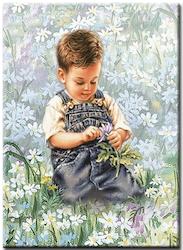 Diamanttavla Pojke Bland Blommor 40x50