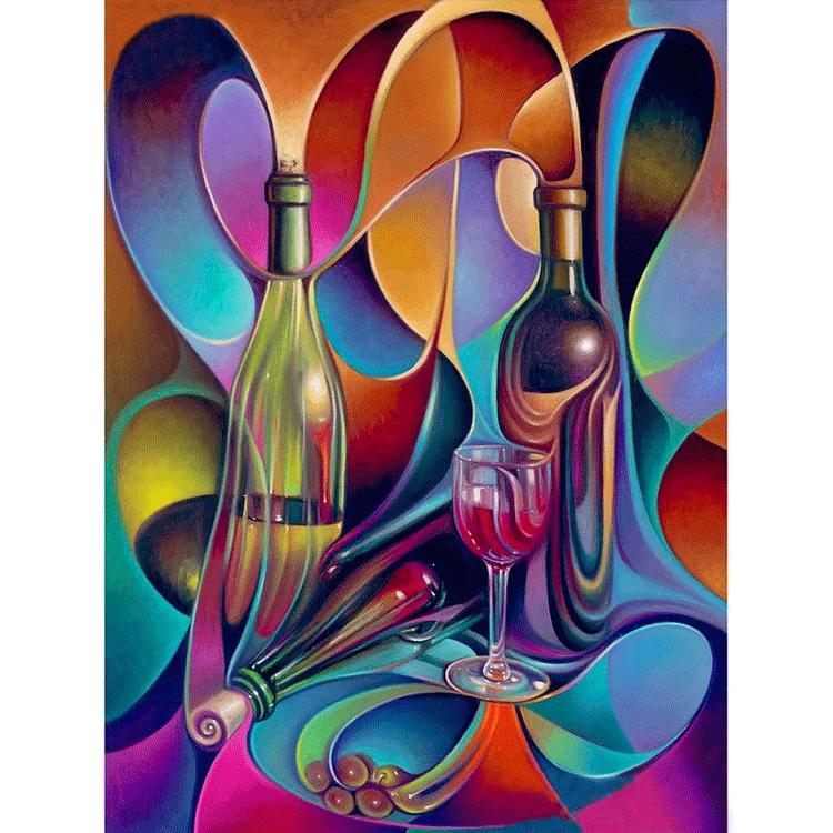 Diamanttavla Abstract Bottles 40x50