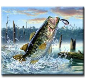 Diamanttavla Fisk På Kroken 40x50